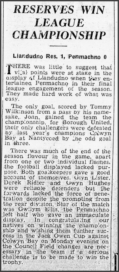 Llandudno res.1-0 Penmachno write up amended