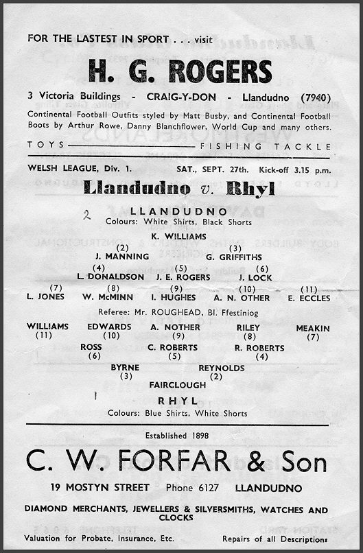 programme from Llandudno F.C. 1958-59 amended